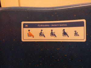 In der Metro von Bangkok - reserviert für Mönche, Schwangere, Alte und Kinder